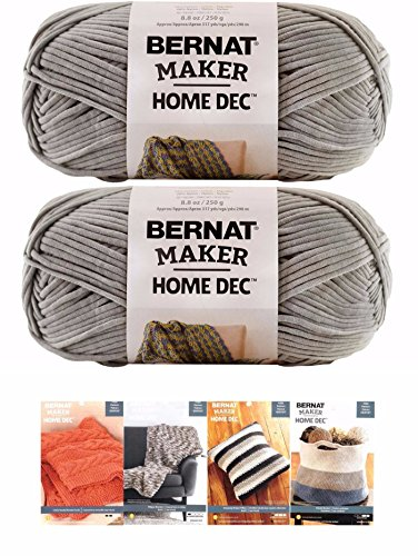 Bernat Maker Home Dec Corded Yarn Bundle 2 Skeins with 4 Patterns 8.8 Ounce Each Skein (Clay) by Spinrite®