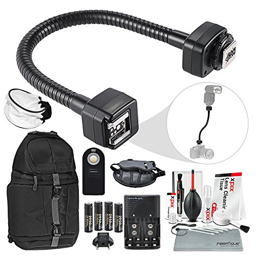 TTL Flash Cord Accessory Bundle for Nikon i-TTL Flash with Diffuser + Remote + Battery&Charger + XPIX Cleaning Kit and More