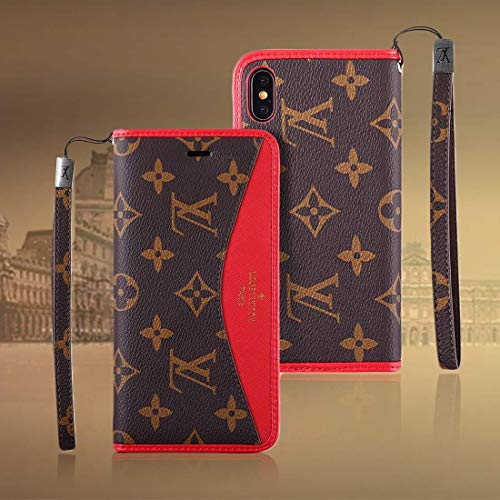 第二考慮シーボードiPhone6 plus/iPhone7 plus/iPhone8 Plus ケース 手帳型 高級PUレザー スタンド機能 カード収納 衝撃吸収 軽量 耐摩擦 保護ケース 全面保護カバー アイフォン6 7 8 plus ケース (iphone6plus/7plus/8plus, レッド)