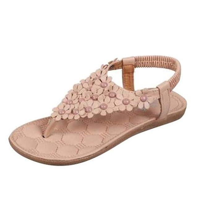 e9942cbe6337 Elecenty Damen Sandalen Schuhe Böhmen Schuh Sommerschuhe Bequeme Frauen Zehentrenner  Sandaletten T-Strap Flats Keilabsatz