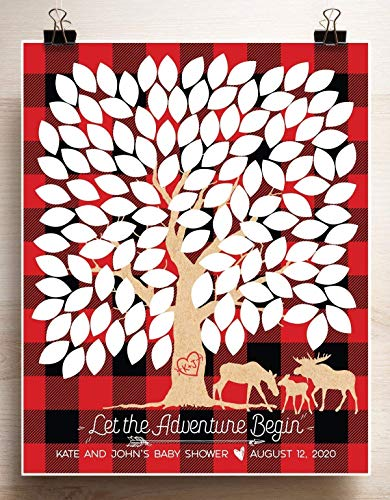 Red and Black Plaid Lumberjack Baby Shower Guest Book Print Moose Baby Shower Poster for 125 Guests