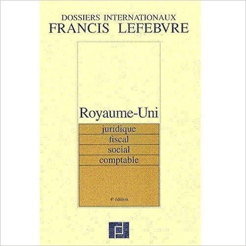 ROYAUME-UNI. Juridique, fiscal, social, comptable pdf