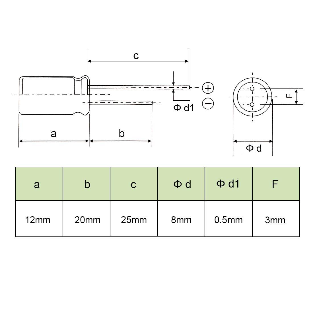 sourcing map Condensadores Electrol/íticos Radiales De Aluminio 220uF 25V Vida 8 X 12mm Negro 10Pcs