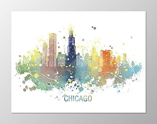 Amazon.com: 11x14 Chicago skyline poster #A103. Chicago art.Chicago ...