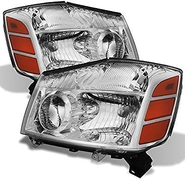 Fit 04-15 Nissan Titan 04-07 Armada Pickup Amber Chrome Crystal Headlights Pair