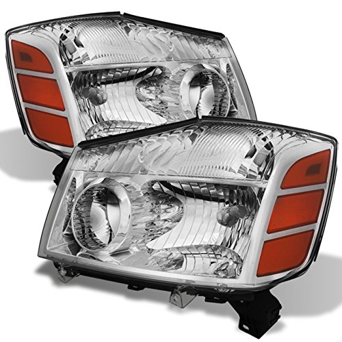 (For 04-15 Titan | 05-07 Armada Clear Lens Headlights Lamps Pair Left + Right Replacement)