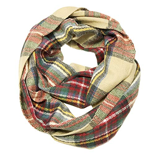 Wrapables Unisex-Adult's Plaid Print Infinity Scarf, red/Green, One Size