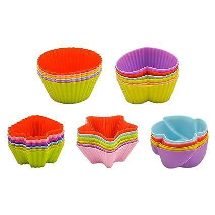 Jusoney Cuisine moldes para Muffin, 30 Piezas Moldes para Pasteles Reutilizables para Hornear Moldes para
