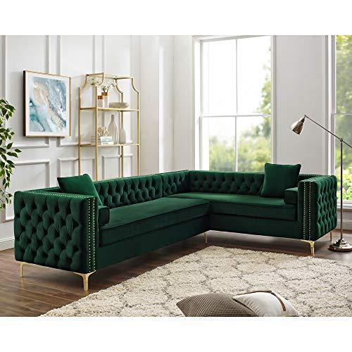Inspired Home Green Corner Sectional Sofa - Design: Giovanni | 120