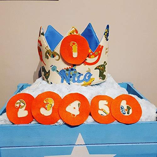Corona cumpleaños - aniversario tela bebe dinosaurios ...