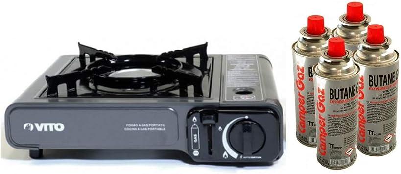 Hornillo Gas 2.2 kW portátil Piezo + 2 cartuchos de gas de baillonnette. Hornillo Camping Gas butano propano