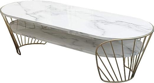 Y-Leah Mesa de Centro de mármol Ovalada de Dos Pisos con diseño de ...