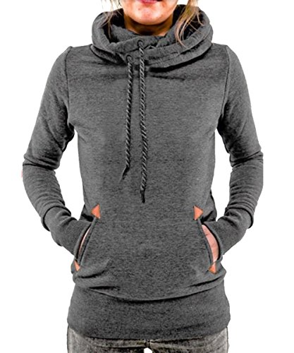 Begonia.K Women's Funnel Neck Hoodie Lightweight Pullover Hooded Sweatshirts, Dark Grey, US M=Tag - Funnel Neck Tee
