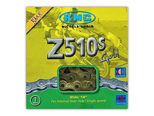 (Single Speed Chain KMC Z510 Gold 112 Links, 1/2 x 1/8, Brass Plated)