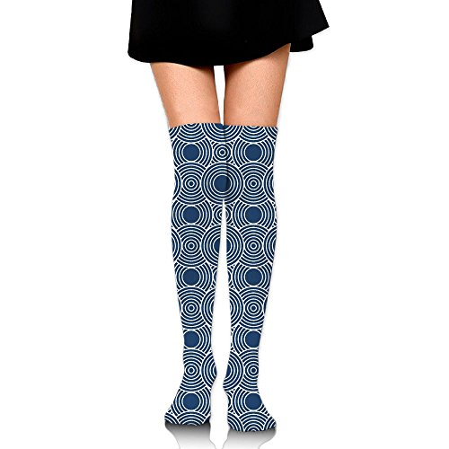 Navy Blue Circles Women's Casual Knee High Compression Socks Sports Running - Wear Mustache How A To