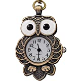 VIGOROSO Women's Steampunk Cool Bronze Night Owl Necklace Quartz New Pendants Pocket Watch in Gift Box