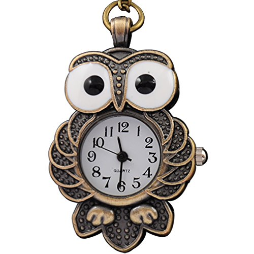 (VIGOROSO Women's Steampunk Cool Bronze Night Owl Necklace Quartz New Pendants Pocket Watch in Gift Box)