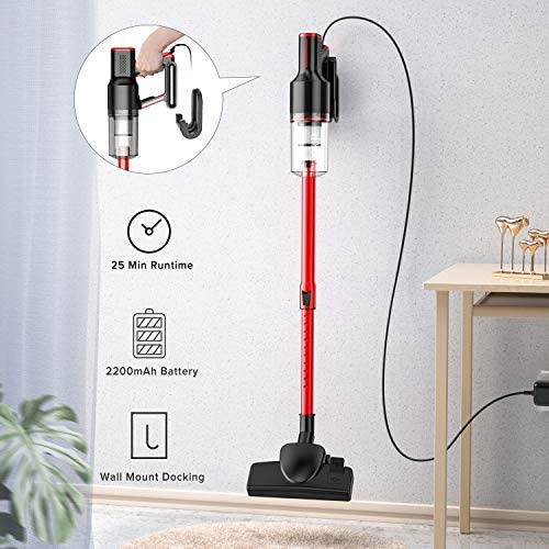 Cordless Stick Vacuum Cleaner, LED Touch Screen Hepa Vacuum 2.4lb Lightweight Handheld Vacuum Cleaner 11Kpa 2 in 1 Wireless Vacuum Cleaner for Pet Hair Cleaning Home Hardwood Floor Carpet Hard Floor