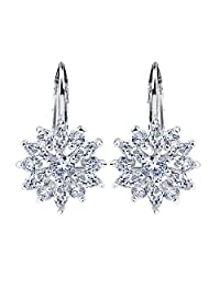 Presentski 18K Gold Plated Flower Design Stud Earrings with Cubic Zirconia for Women and Girls