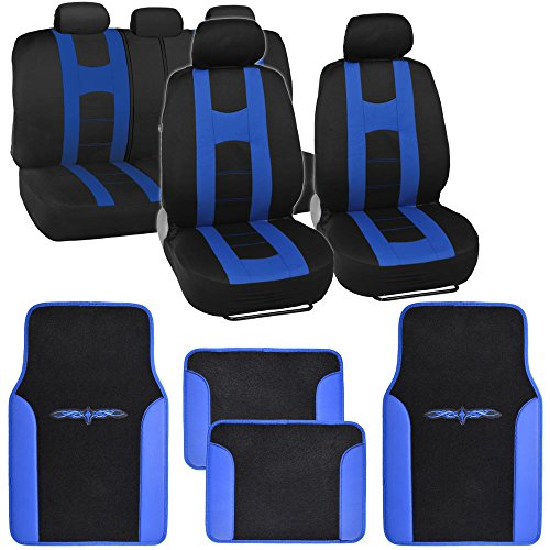 BDK Sport Series Rome Sport Black/Blue Stripe Seat Covers w/Split Bench & Vinyl Trim Carpet Mats Full Set