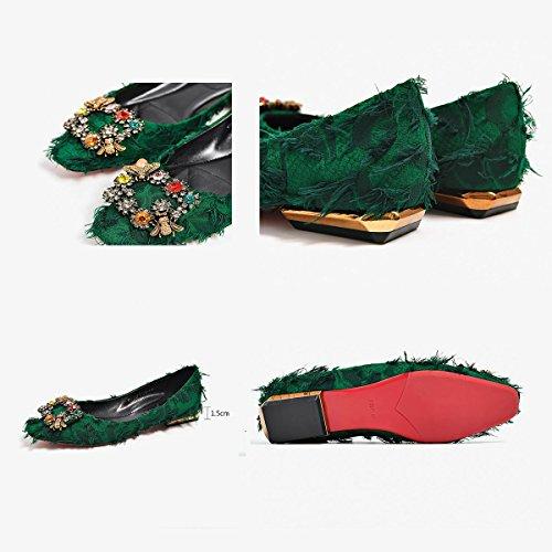 Mocasines Personalidad Slip Lona Verano Espumosos Zapatos Comfort Tamaño de Primavera XUE 35 Zapatos Ons Segundo Oficina Color y de Planos Zapatos Ligero Casual Conducción UN Mujer wZXxqY8