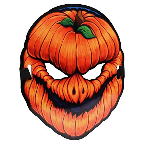 SeoJack Halloween Pumpkin Monster Mask Sound-Control Light Up Scary Mask for Adults Halloween Costume Party Props Yellow