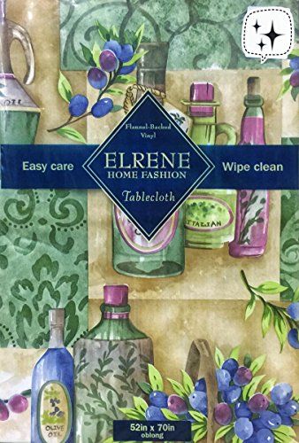 Elrene Italian Green Olive Garden and Olive Oil Theme Vinyl tablecloth Flannel Back (52''x70'' Oblong) by Elrene Home Fashion