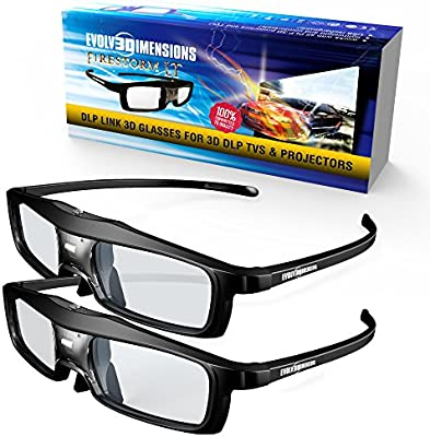 Evolved Dimensions (previously True Depth 3D) NEW Firestorm LT Lightweight Rechargeable DLP link 3D Glasses for All 3D Projectors (Benq, Optoma, Acer, ...
