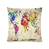 Home Decor Personalized Retro Art Print Colorful World Map Zippered Throw Pillow Cover Cushion Case 20×20 (two sides) Picture