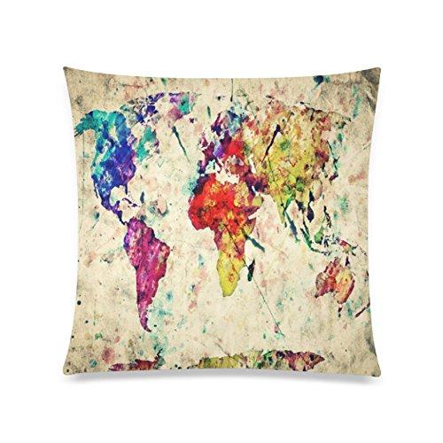 Home Decor Personalized Retro Art Print Colorful World Map Z