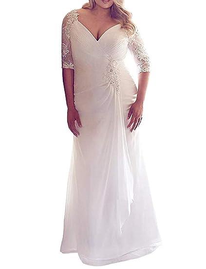 Mulanbridal Plus Size Beach Wedding Dress Bride Jewel Lace Ruched 3