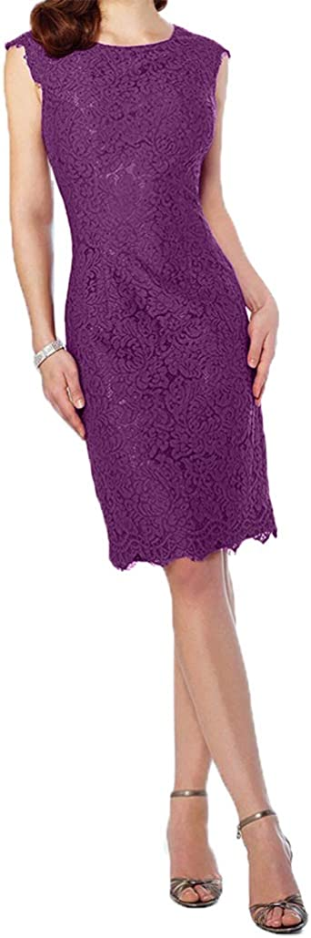 Royaldress damska urocza sukienka wieczorowa z krÓtkim rękawem sukienka odświętna dla matki młodej sukienka koktajlowa z koronką krÓtka długość do kolan 54 ciemny liliowy: Odz