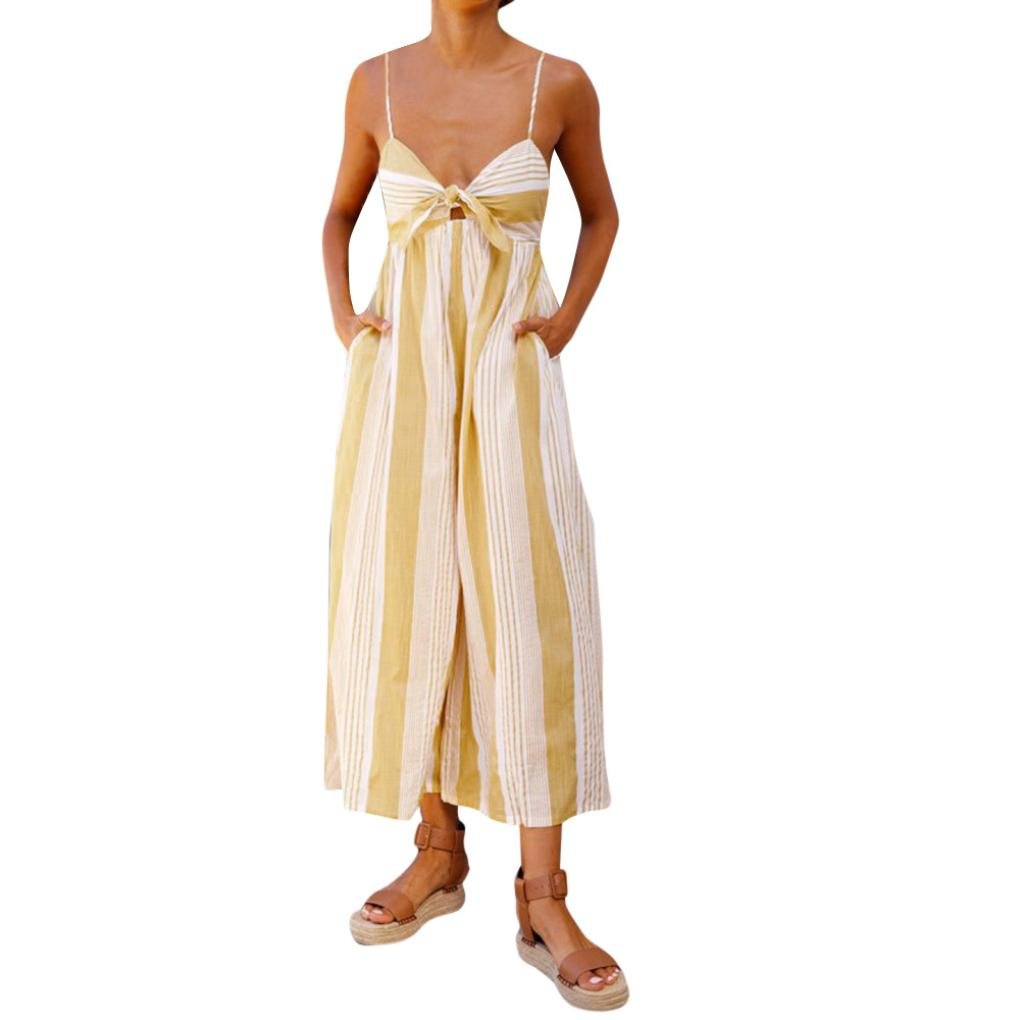 NEWONESUN 2018 Women Strap Striped Print High Waist Jumpsuits Loose Playsuit Leg Long Trousers Ladies Outfits (Large, Yellow)