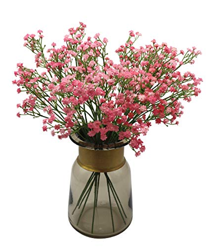 Anatural Artificial Flowers, Fake Flowers Babys Breath Gypsophila Flowers Steam Bouquet for Wedding Party Home Garden Table Centerpieces Decorations 10pcs 15.7 Inches (Pink) (Zinnia Centerpiece)