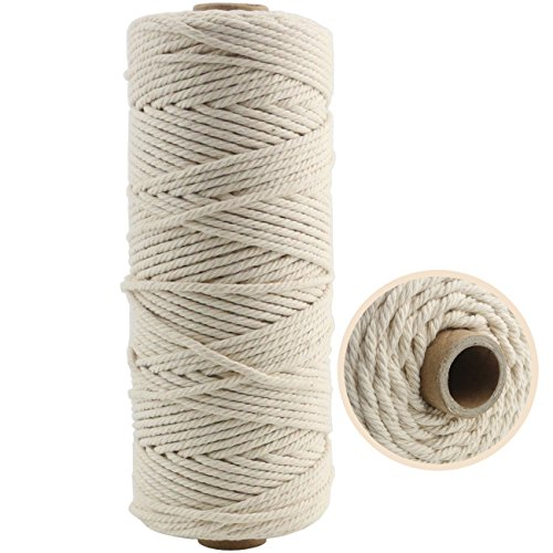 TinaWood 3mm Natural Virgin Cotton Cord (about 110 yd)/ Twine String/ Soft Undyed Natural Color Rope – Best for Plant Hanger Wall Hanging Craft Making and DIY (Beige 3mmx110yd)