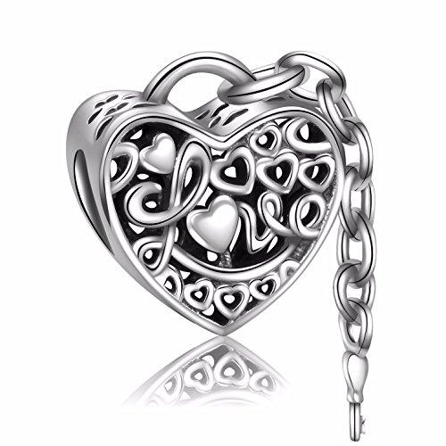 Angemiel 925 Sterling Silver Lock of Love Key Dangle Heart Charms Bead for European Snake Chain Bracelets (925 Lock Silver)