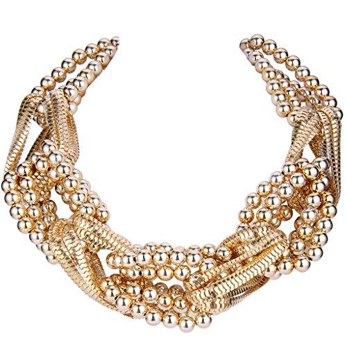 BriLove Women's Punk Rock Braided Beads Cluster Torsade Bib Statement Necklace Golden Color
