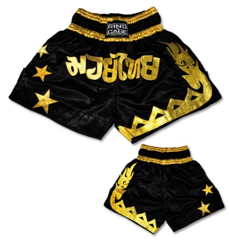 Muay Thai Shorts-Black/Gold - Improved Quality