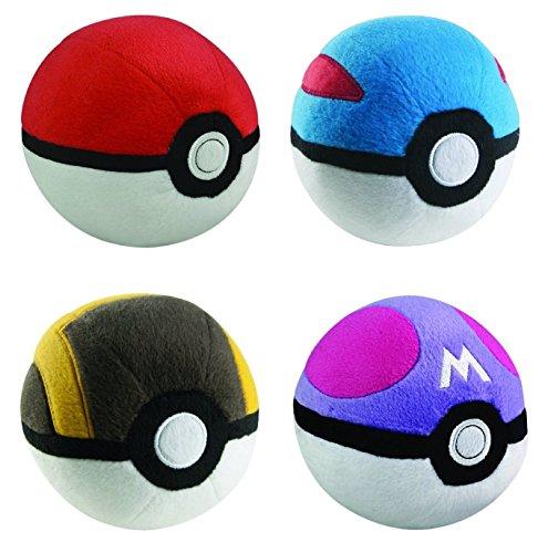 pokeball Mini Poke Ball Collection 4pc Complete Plush Set GreatBall UltraBall MasterBall Mini for Kids]()