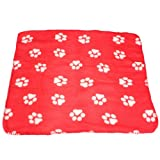 Cute Handcrafted Cozy Warm Paw Print Pet Dog Cat Fleece Blanket Mats — red+whiteclaw Review