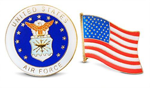Patriotic U.S. Air Force & American Flag Lapel or Hat Pin & Tie Tack Set with Clutch Back by Novel Merk