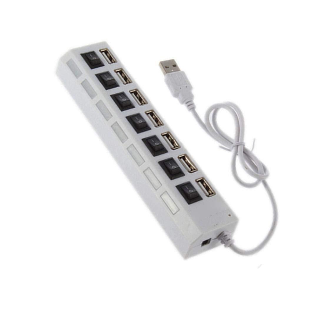 Junio1 7 Puertos LED Adaptador USB Hub Interruptor de Encendido/Apagado para PC portátil Hubs USB