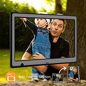 Apzka 10-Inch HD Digital Photo Frame with Motion Sensor & Auto-rotate Function, MP3 Photo Video & Music Playback, Calendar with 2GB Internal Memory & Remote Control (Black)