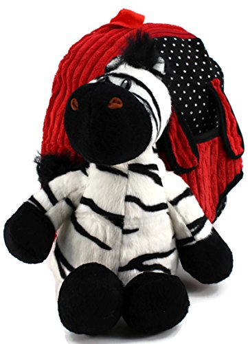 Dear Baby Gear Toddler Backpack and Animal Collection Backpack with Black White Striped Zebra, Red
