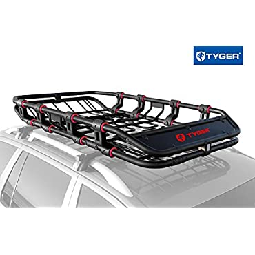 "TYGER Super Duty Roof Cargo Basket (L 68"" x W 41"" x H 8"") Luggage Carrier Rack with Removable Extension Kit and Wind Fairing"
