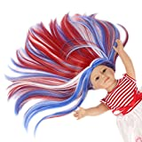STfantasy American Girl Doll Wig Long Straight Ombre Blue White Red Three Tone Middle Part Synthetic Hair for 18'' AG Doll Bald Head