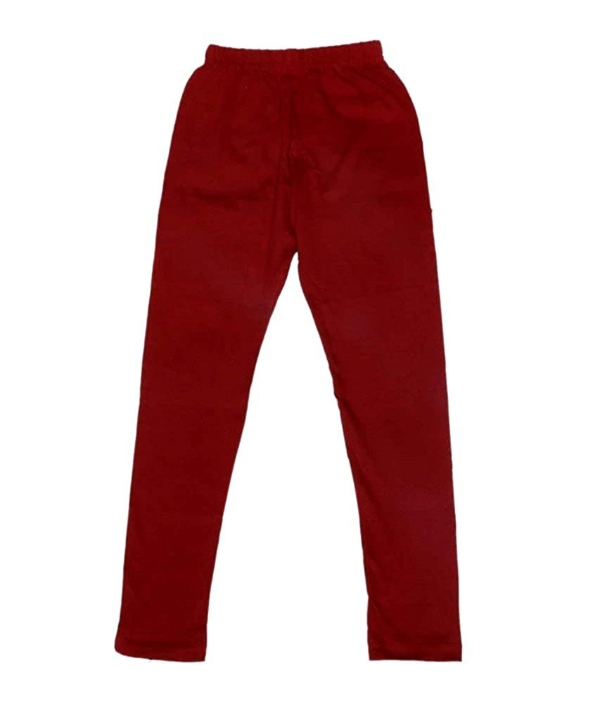 Pack of 2 Indistar Girls Super Soft Ankle Length Cotton Lycra Leggings /_Maroon::Beige
