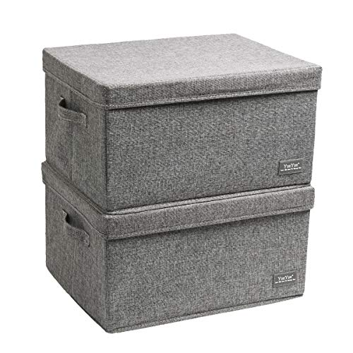 "YueYue Large Fabric Storage Boxes with Lids,2 Pack Foldable Cloth Storage Box,Fabric Clothes Container Great for Organizers Bedroom Closet Living Room Grey (17.7""/13.8""/9.8"")"