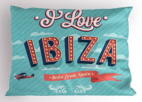 Lunarable Ibiza Pillow Sham, Hello from Spain Quote on Stripe Background Tropical Holiday Islands, Decorative Standard King Size Printed Pillowcase, 36 X 20 Inches, Pale Blue Dark Coral Yellow by Lunarable