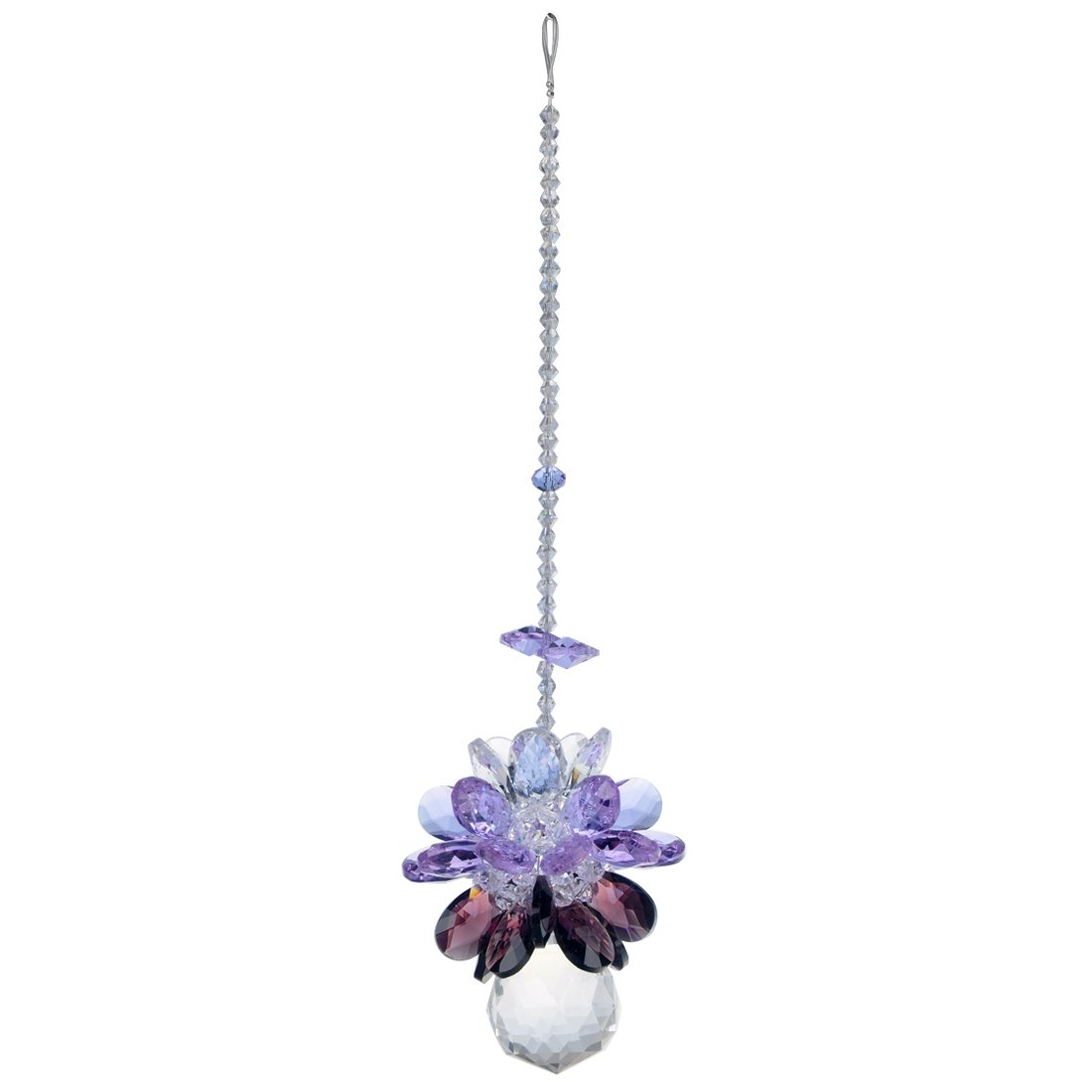 H & D Clear Crystal Ball ciondolo appeso lungo Sun Catcher viola decorazione di nozze